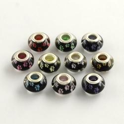 5 stk Acryl-Perlen mit Pfotenabdruck 14x9 mm, Bohrung: 5 mm