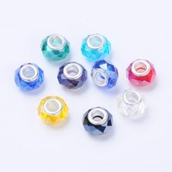 5 stk Glasperlen 14 mm breit , 9 mm lang, Bohrung: 5 mm