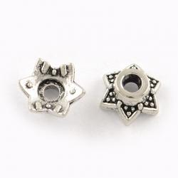 10 stk Perlenkappen, Stern, 6x7x3 mm, Bohrung: 2 mm