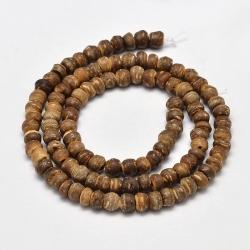 Strang Kokos Abacusperlen, Goldrute, 5-8x5-7 mm, Bohrung: 2 mm