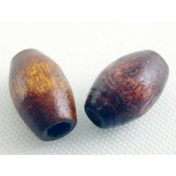 Holzperle in fassform,gefärbt, braun,5x 8 mm, Bohrung: 2 mm