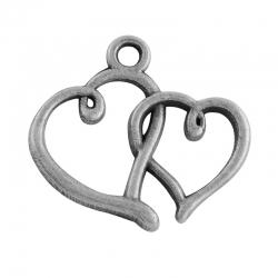 Herzanhänger, Bleifrei, Antik Silber Farbe, 17.5x19x2 mm, Bohrung: 2 mm