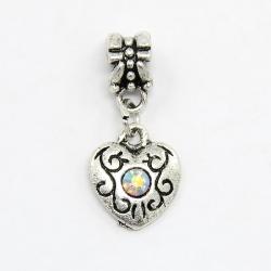 Grossloch-Perlen, mit Strass Herzanhänger
