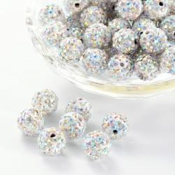 Polymer - Strass Perlen, Kristall ab, 10 mm, Bohrung: 1.5 mm