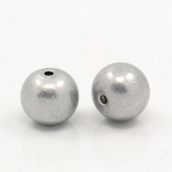 10 stk Aluminium-Perlen, Grau, 10 mm, Loch: 1.5 mm