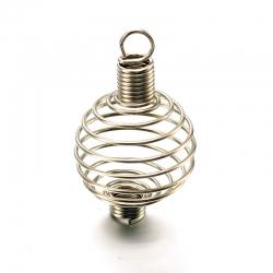 Edelstahl Perlen-Käfige, Rund, 34x19 mm, Bohrung: 4.5 mm