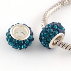 Polymer Lehmrhinestone Perle mit Silberfarbenem Messing Kerne, DUNKELGRÜN, 11~12x7~7.5 mm, Bohrung: 5 mm
