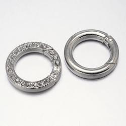 Ring zum aufschieben, mit Strass, Platin Farbe, 24x4 mm, Bohrung: 16 mm