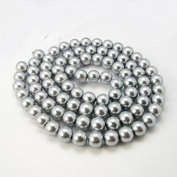 Strang Glas-Perlen, pearlized, Silberfarbig, 14 mm, Bohrung: 1 mm