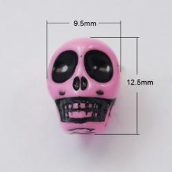 Acryl-Schädelperle, rosa, 12.5x9.5x11 mm, Bohrung: 1.5 mm
