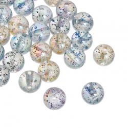 10 stk Acryl-Perlen mit Glitzer  10mm , Bohrung 2mm