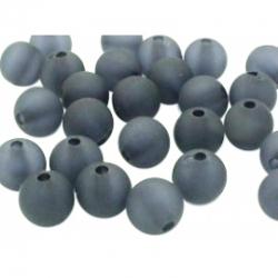 10 stk Acryl-Perlen, gefrostet, Schwarz, 12 mm, Bohrung: 2 mm