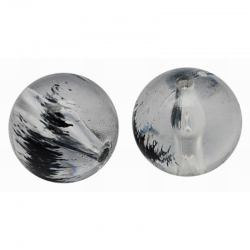 10 stk Transparente Acryl-Perlen, Schwarz, 10 mm, Bohrung: 2 mm