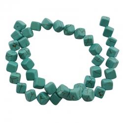 1 Strang Kunst Howlith Perlen Würfel, 8x8x8 mm, Bohrung: 1 mm