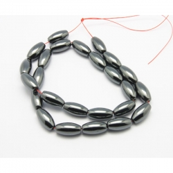 1 Strang Nicht-magnetischen Hämatit-Perlen Größe: ca. 8 mm dm, 16 mm lang, Bohrung: 1 mm