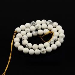 1 Strang Natürliche Howlith Perlen weiß, 10 mm, Bohrung: 1 mm