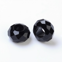 Glasperlen Großloch keine Metallkern, Schwarz facettiert, ca. 14 mm Durchmesser, 8 mm dick, Bohrung: 5 mm