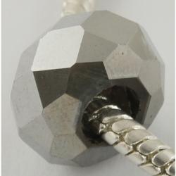 Galvanisieren Glas-Großlochperlen, keine Metallkern, facettierte Rondelle, Silberfarbig, ca. 14 mm Durchmesser, 8 mm dick, Bohru