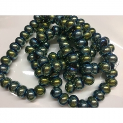 Glas-Großlochperlen, keine Metallkern, AB Farbe dunkel olivgrün,  15 mm x 10 mm Bohrung: