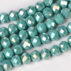 1 Strang Nachahmung Jade facettierte Glasperlen, Darkcyan, 8x6 mm, Bohrung: 1 mm;