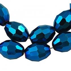 Galvanisiertes Glasperlen, in Blau Plattiert, oval facettierten, Perle: 6x4 mm Bohrung: 1 mm, ca. 72 Stk. / Stran
