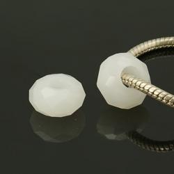 Glasperlen Großloch, keine Metallkern, ghostwhite, ca. 14 mm x 8 mm, Bohrung: 5 mm