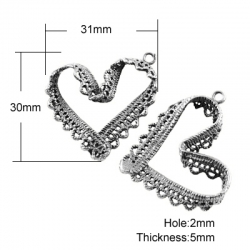 Spitze Herzanhänger, Antik Silber Farbe, 30x31x5 mm, Bohrung: 2 mm