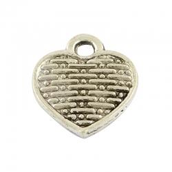 10 stk Herzanhänger Antik Silber Farbe, 12.5x10.5x2 mm, Bohrung: 1.5 mm;