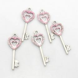 Herz Schlüssel, pearlpink, 50x18x2 mm, Bohrung: 3.5 mm