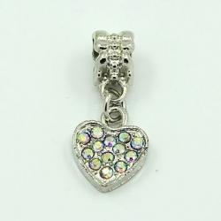 Herz mit Rhinestone & Anhängeröse grossloch Platin Farbe, Kristall ab, 25x10x7 mm, Bohrung: 5mm