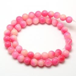 Natürliche Malaysia Jadeperle Stränge, gefärbt Perlen, Warmrosa, 8 mm, Bohrung: 1 mm;