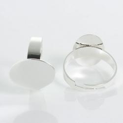 Versilbert Verstellbarer Ring, mit Ovaler Klebefläche 17.5mm (Für Stein 17mmx12mm)