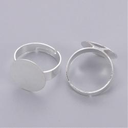 Verstellbarer Ring, Dm 18mm, Fach 15mm silberfarben