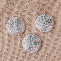 Harz Vintage Cabochon mit Khaki Blume Blätter 30mm