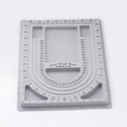 Kleine Perlensortierplatte Kunststoff Grau, Größe: ca. 24 cm breit, 33 cm lang, 1 cm dick