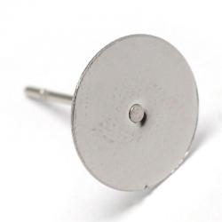 304 Edelstahl Ohrstecker Klebefläche 10 mm; Stift: 0.8 mm