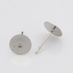 304 Edelstahl Ohrstecker Komponenten, Edelstahl Farbe, Klebefläche 8mm, Stift: 0.4 mm