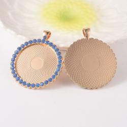 Cabochon Fassung,Gold mit Strass in blau,Fach: 35 mm; 53x44x4 mm,