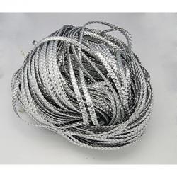 Kunstlederschnur, geflochtene, Grau/ silber, Größe: ca. 6 mm breit, 2.4 mm dick