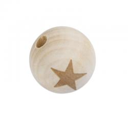 Holzperle Stern, Naturfarben, 19mm bohrung 4.5mm
