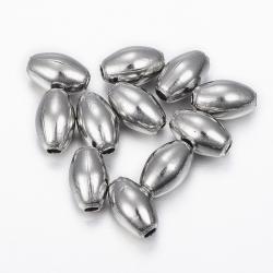 10 stk  Edelstahlperlen 9.5x6 mm, Bohrung: 2 mm