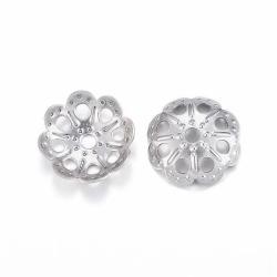 10 stk Edelstahl Perlenkappen,  9x2 mm, Bohrung: 1.5 mm
