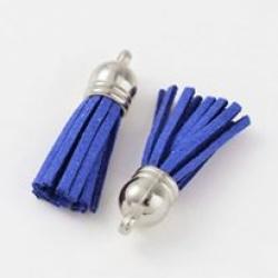 Quaste mit Kunst-Wildlederfransen & ccb-Kappe Blau, 38x10 mm, Bohrung: 2 mm