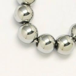 Strang nichtmagnetische synthetische Hämatitperlen  Silber-Farbe plattiert, Klasse A  12 mm, Bohrung: 1.5 mm;