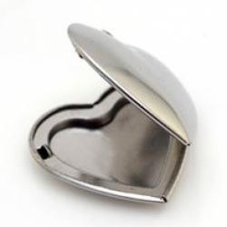 Edelstahl-Foto Anhänger, Herz, 29x28x7 mm, Loch: 2 mm