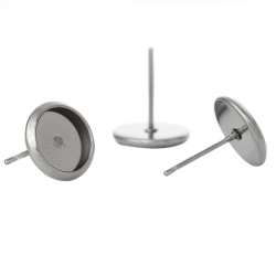 1 Paar 304 Edelstahl Ohrring für Cabochon 6mm DM, 12mm x 8mm, Stift 1mm inkl Silikonstopper