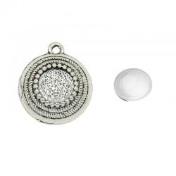Cabochonanhänger mit Glasstein, Antiksilber, 25 x 21 x 6 mm, Loch: 2,5 mm; Fach ca 10mm