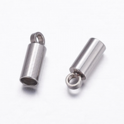 304 Edelstahl Endkappen, Edelstahl Farbe Größe: ca. 3 mm breit, 8,5 mm lang, Bohrung: 1,5 mm; Innengröße: 2,5 mm.