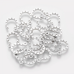 304 Edelstahl Hufeisen, Edelstahl Farbe, 13,5x9,7x1 mm, Bohrung: 1,5 mm