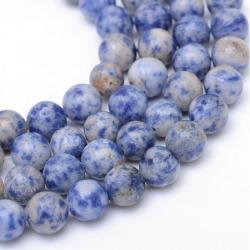 Natürliche Jaspisperlen mit blauen Punkten, gefärbt, 6 mm, Bohrung: 1 mm; ca. 65 Stück / Strang
